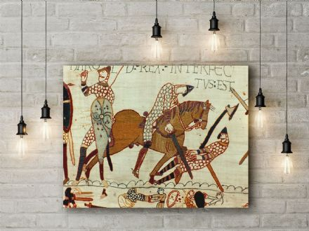 Bayeux Tapestry: Death of Harold. Historical Fine Art Canvas.
